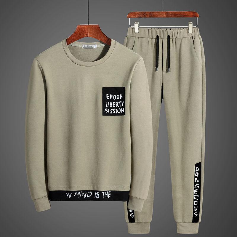 9EuEr2秋季休闲套装男士帅气九分裤韩版潮流运动一套卫衣秋装衣服