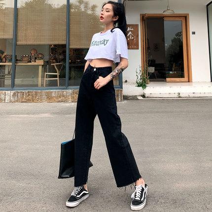 直筒加绒牛仔裤女秋冬图片