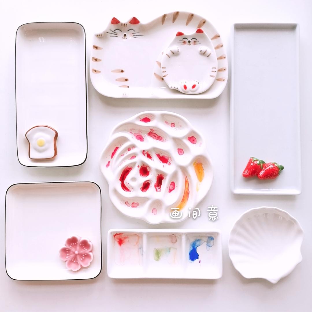 水彩调色盘陶瓷油画国画绘画颜料白瓷质长方形三格碟玫瑰花调色盘