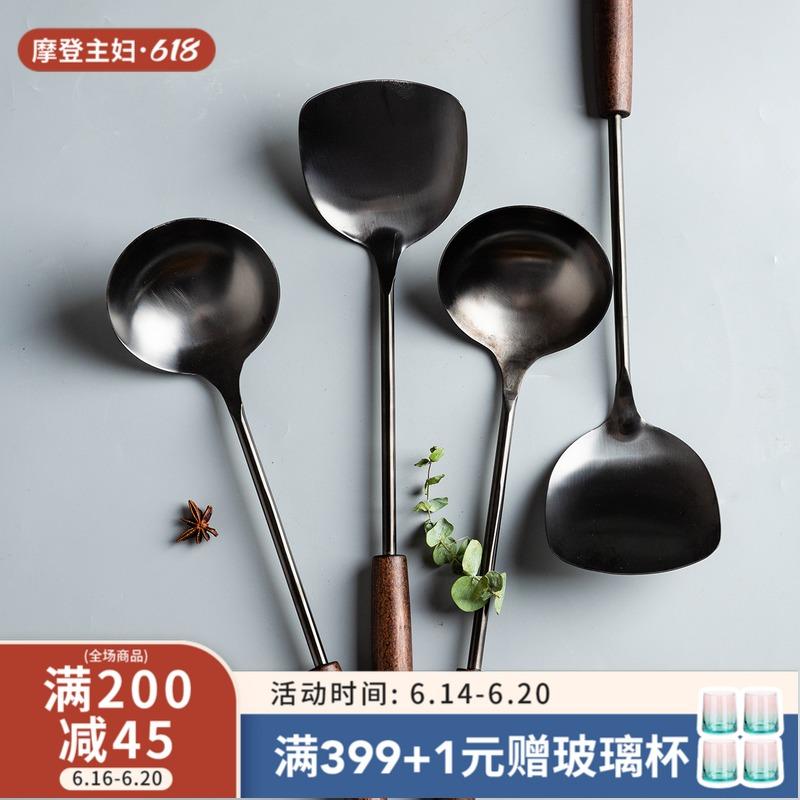 摩登主妇不锈钢锅铲厨房烹饪工具套装家用炒菜铲子木柄把铁铲勺子 Изображение 1