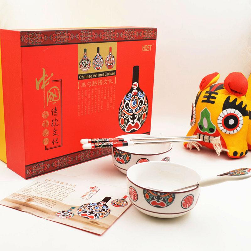 京剧脸谱马勺餐具礼品中国风礼物套装送外国人实用特色出国礼品
