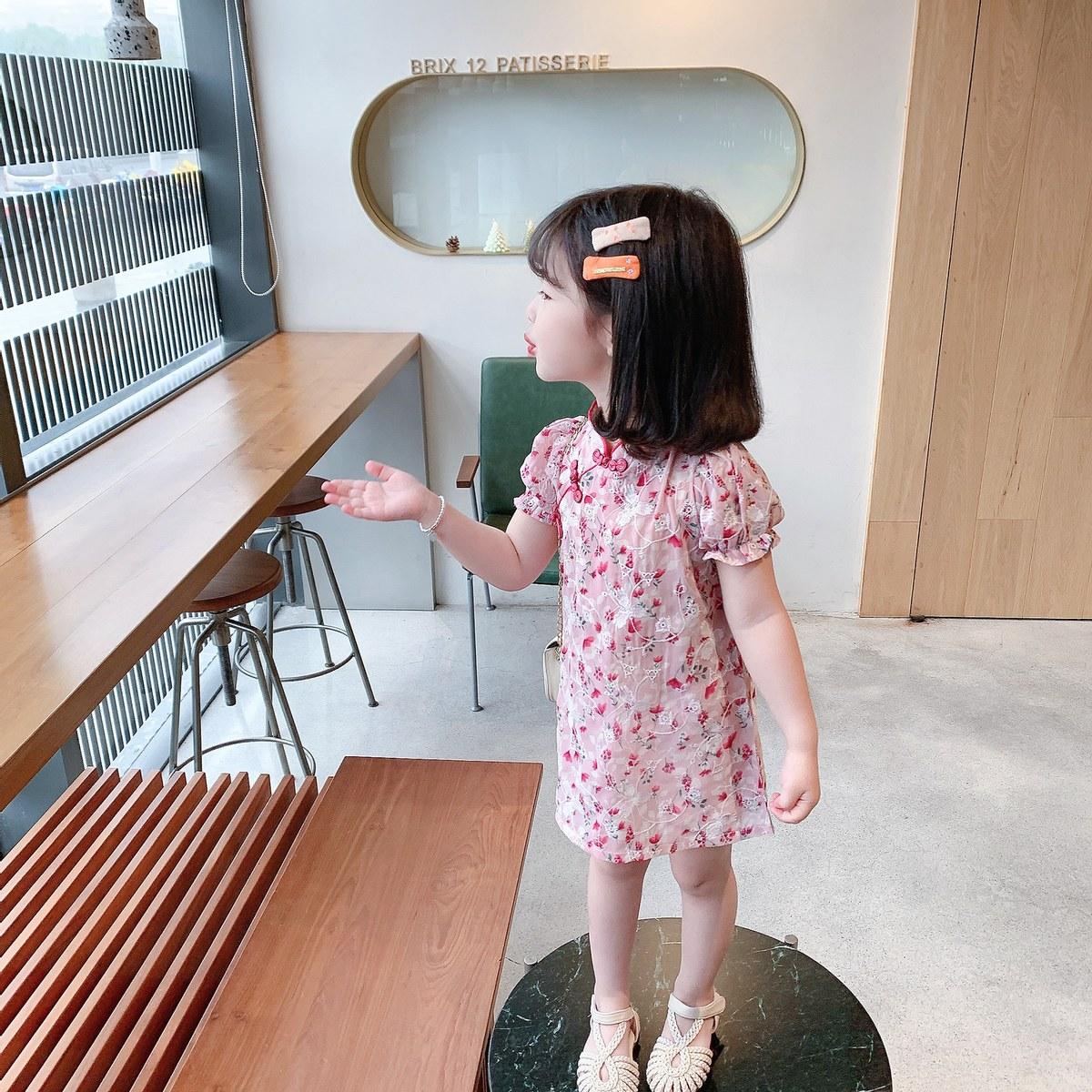 女童旗袍裙子夏装汉服裙中国风女宝宝唐装洋气2021新款儿童连衣裙
