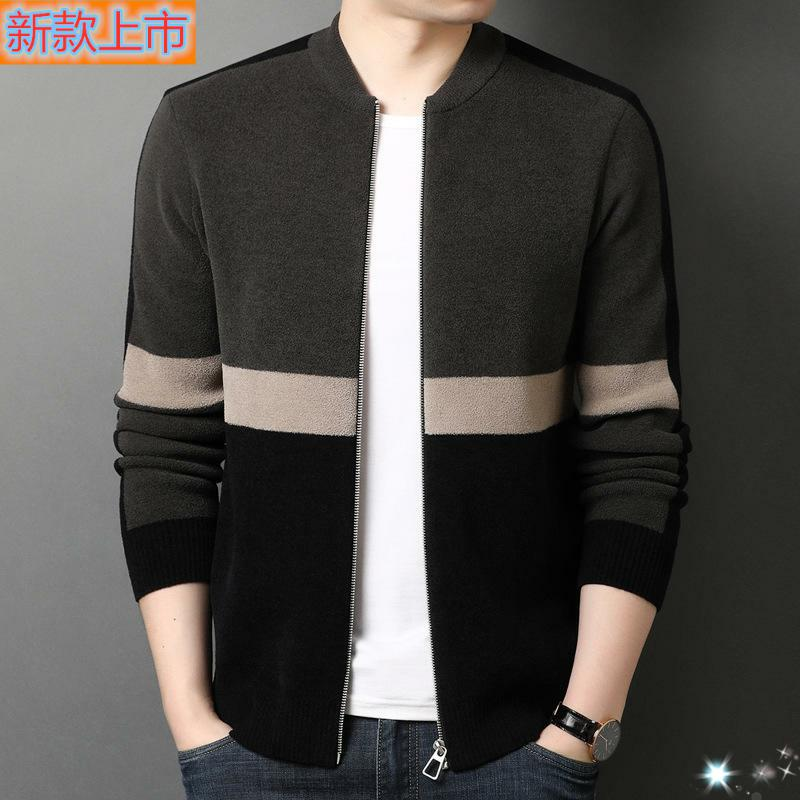 High grade genuine autumn mens knitting leisure long sleeve cardigan sweater / sweater printing Zhuo Danlong middle age