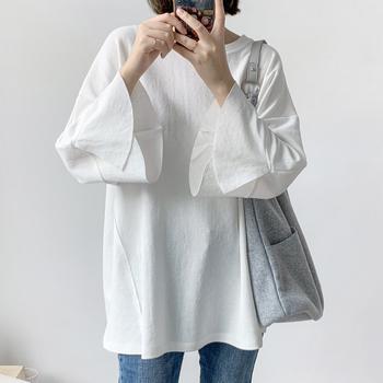 气质荷叶袖宽松T恤 韩版侧线斜切显瘦宽松大码棉七分袖上衣T女963
