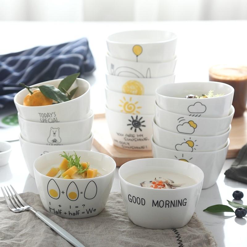 漂亮碗可微波炉米饭碗小碗好看陶瓷碗家用早餐碗便携碗汤面碗w