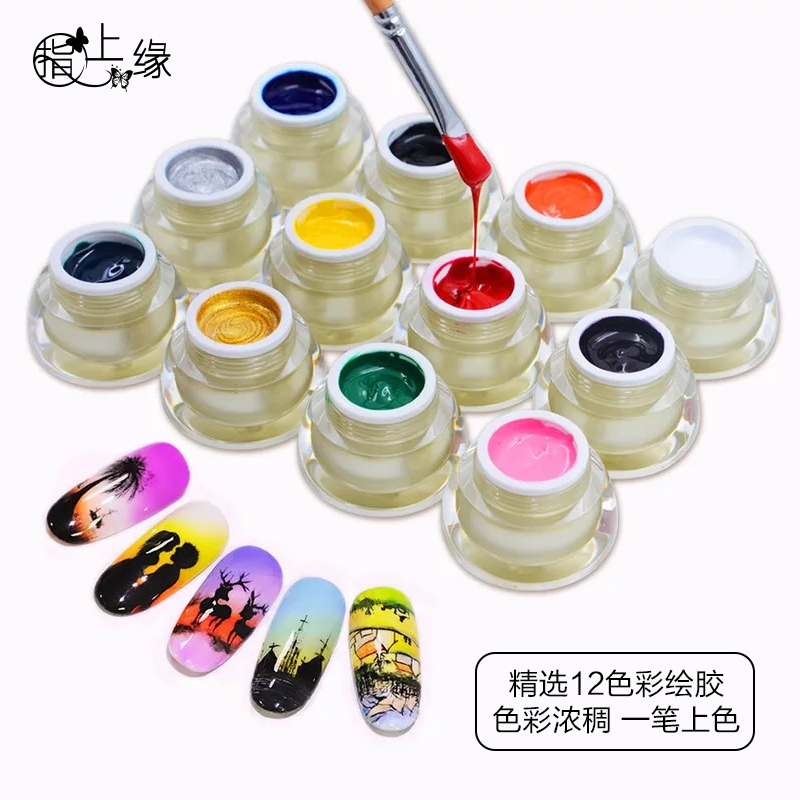 Finger top edge genuine nail painting glue cable glue 12 color full set nail shop school special nail painting glue
