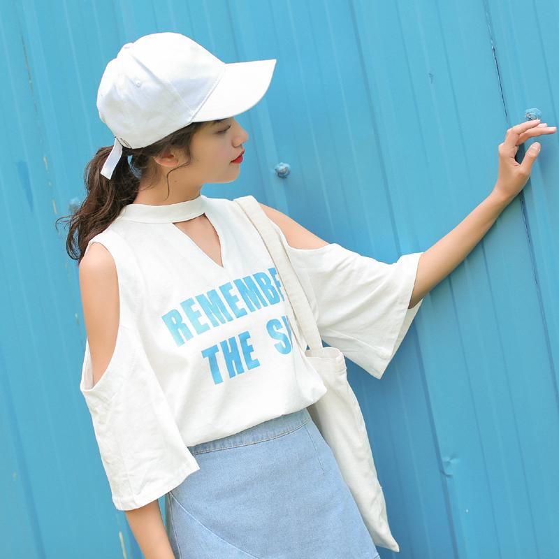 2019实拍夏款 清新字母露肩系带百搭白色t恤