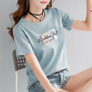 2021夏季新品短袖t恤女纯棉韩版圆领宽松百搭上衣学生半袖体恤衫