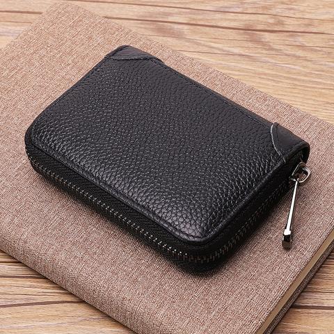 真皮卡包男士简约大容量多卡位防消磁证件包女拉链卡片收纳包卡夹
