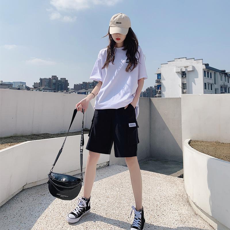 2021年新款工装短裤女夏天薄款休闲中裤宽松直筒高腰显瘦五分裤潮