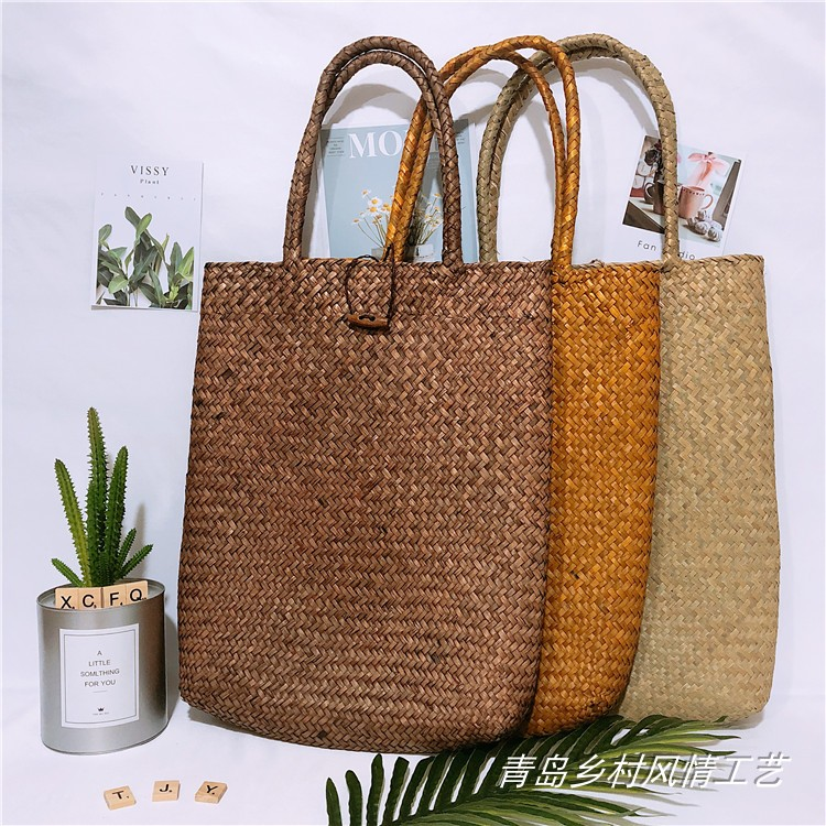 Japanese straw bag sennvfan mat one shoulder bag rattan beach bag shopping bag