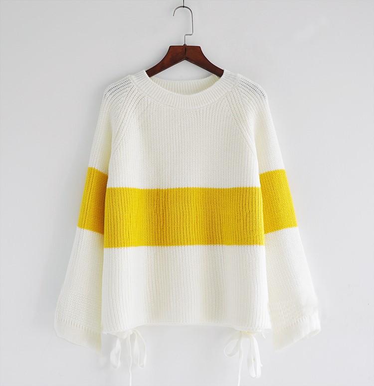 毛衣可爱女宽松新款韩版学生蝙蝠宽袖套头拼色针织衫打底衫