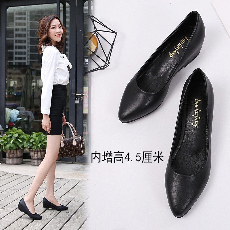 Inside high work shoes womens black leather shoes medium heel soft sole non slip pointed slope heel shoes flat sole work shoes