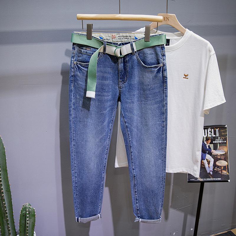 2021春夏蓝色牛仔裤男潮牌修身小脚裤弹力韩版潮流简约百搭长裤子
