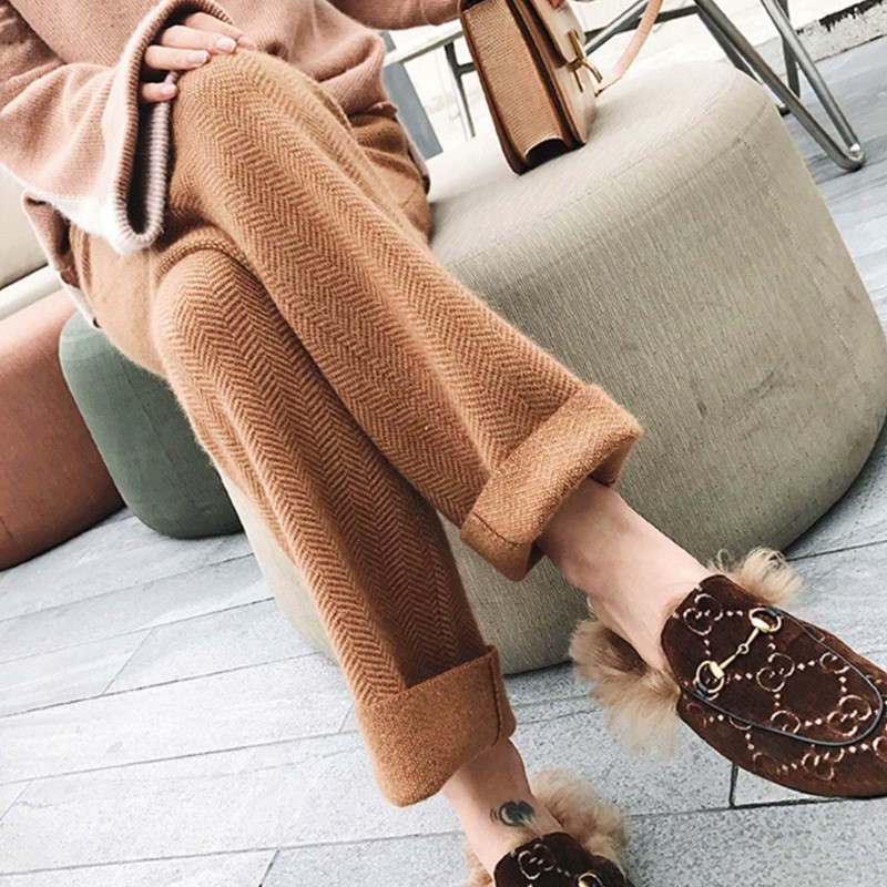Herringbone tweed pants womens spring and autumn loose straight tube high waist thickening lengthening wool cashmere leisure pants wide leg pants