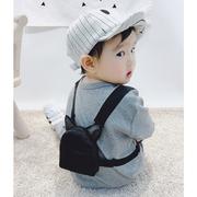 团子麻麻宝宝长袖连体衣春款新生婴童外出抱衣针织可爱背包哈衣潮
