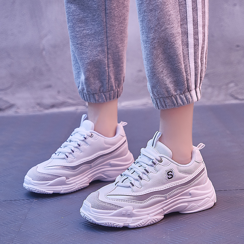 Girls sneakers 2020 new spring 12 leather breathable girls 15-year-old mesh trendy middle school childrens 10-year-old Korean version