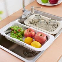 厨房水槽洗碗池沥水架洗菜盆洗水果沥水篮塑料小收纳可伸缩碗碟架