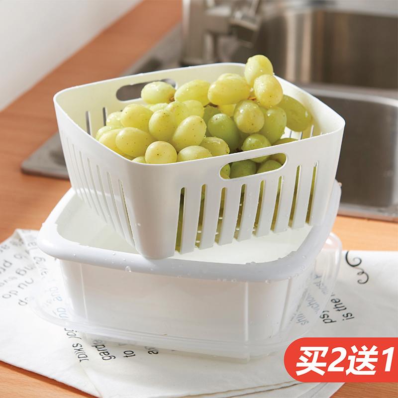 日本双层洗菜盆沥水篮塑料厨房淘米漏水盆洗水果篮子客厅家用果盘