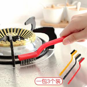 日本厨房用品 去污煤气灶台刷油烟机清洁刷子 尼龙铜刷钢丝锅炉刷