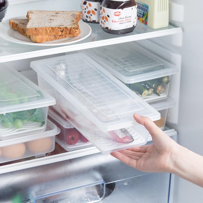 日本厨房冰箱收纳盒沥水保鲜盒子塑料带盖长方形装鱼海鲜冷冻冷藏