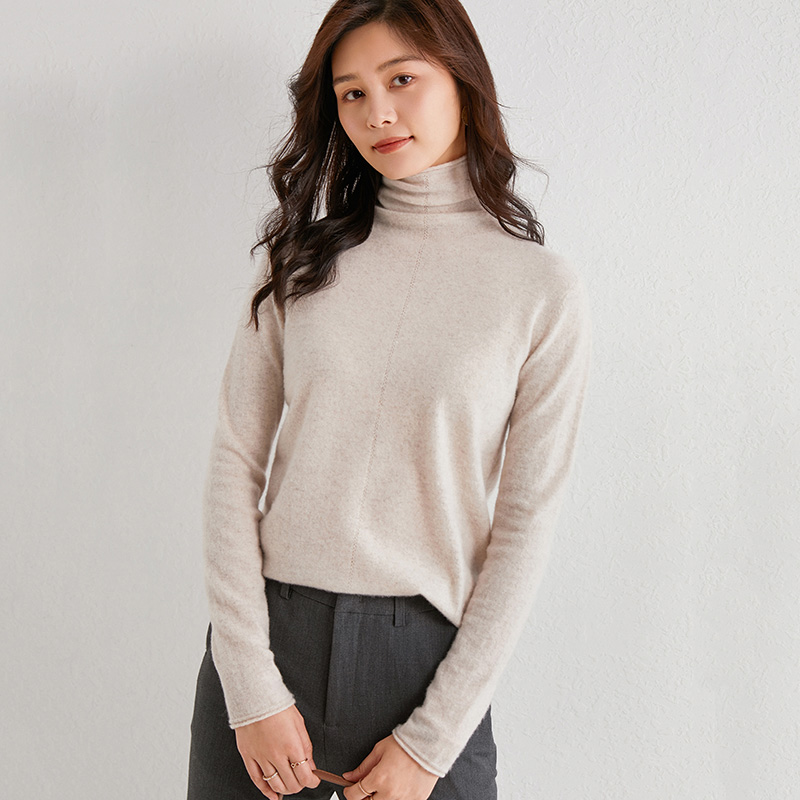 Pile neck sweater womens fashion hollow out twist pattern sweater Pullover slim bottomed sweater cashmere sweater women
