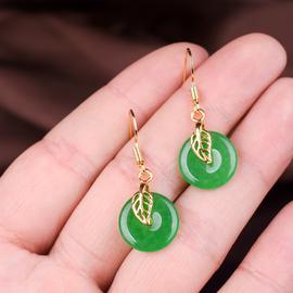 玉石匠翡翠玉石平安扣耳环 碧玉转运耳坠 少女款祖母绿色耳饰品
