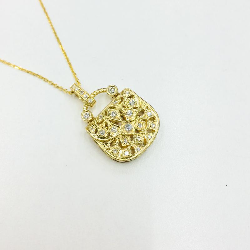 唐秋カスタム23分18 K金の本当のダイヤモンドのバッグのペンダントネックレスの鎖骨チェーンを送ります。