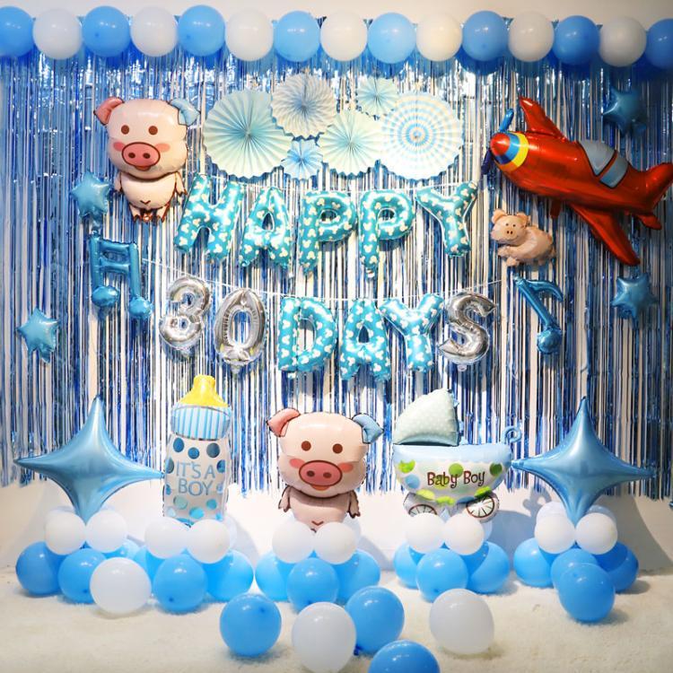 宝宝生日满月宴酒店布置儿童主题套餐气球场景背景墙派对装饰用品