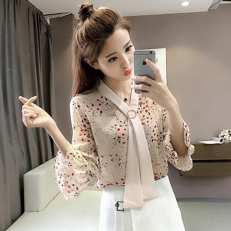 蘑菇街2018新款mg小象夏装印花喇叭袖雪纺衫女装上衣百搭漂亮小衫
