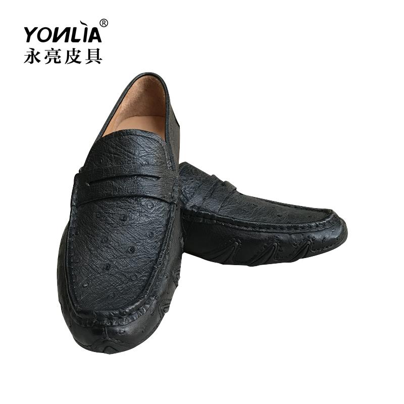 永亮新款天然鸵鸟皮男鞋休闲时尚单鞋简约百搭款鞋子真皮男士皮鞋