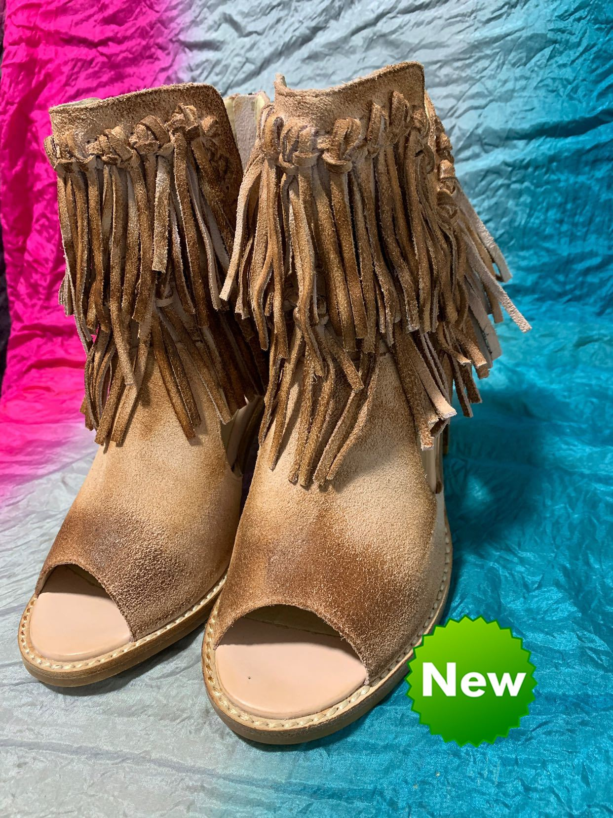 2020 new covis suede Roman open toe tassel cool boots thick heel short boots old fashion European and American sandals