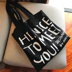 ANDCICI网红款 字母帆布袋男女单肩包大容量手提购物袋子学生书包