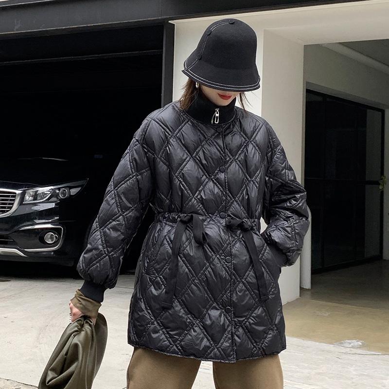 Golden MANSA 832 autumn and winter dress 2020 new womens Coat Black Slim medium length waisted lightweight down jacket