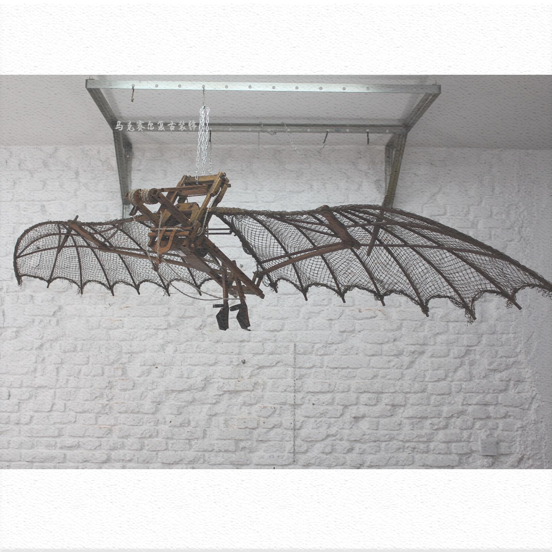 Retro punk iron large indoor wing bat flying wing 3M pendant Decoration bar restaurant aircraft