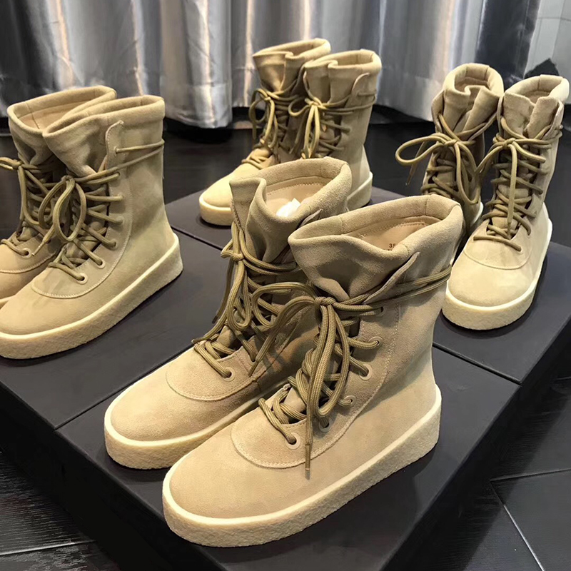 Kanye coconut Boots Mens Martin boots womens Plush yeezy couples Wang Ziwen high top boots desert snow boots tide