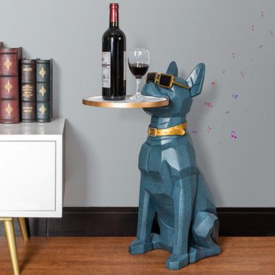 床头置物架落地狗创意轻奢卧室客厅电视柜沙发旁边收纳零食架家用