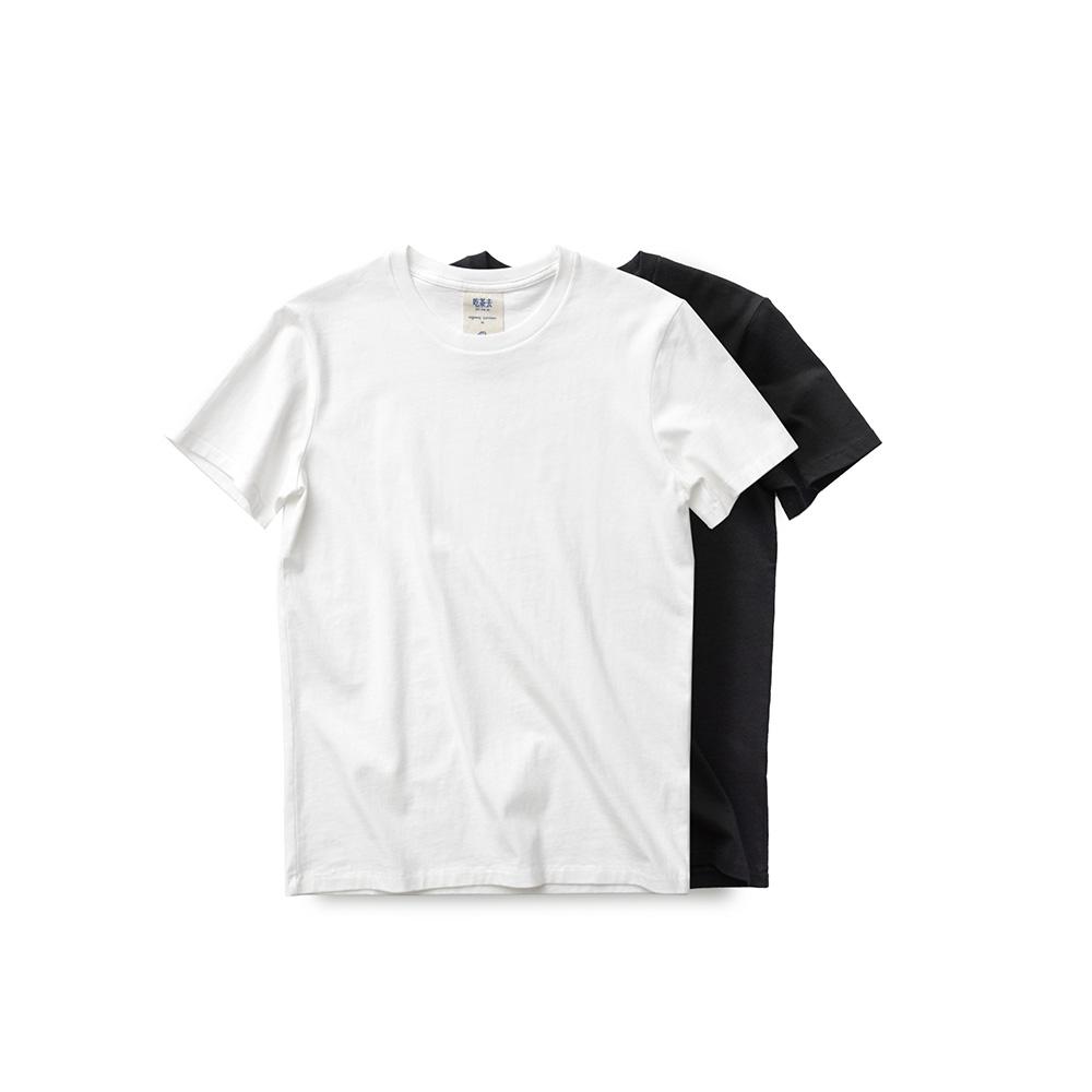 吃茶去男款蓝标有机棉圆领短袖T恤 白黑素色打底纯色 休闲文艺限2000张券