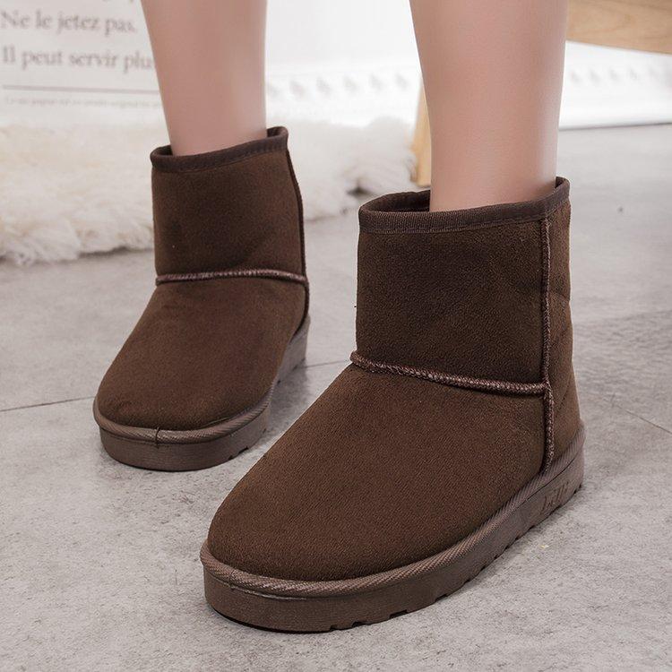 秋冬季新款加绒雪地靴女短靴加厚防滑短筒女靴子平底保暖学生棉鞋