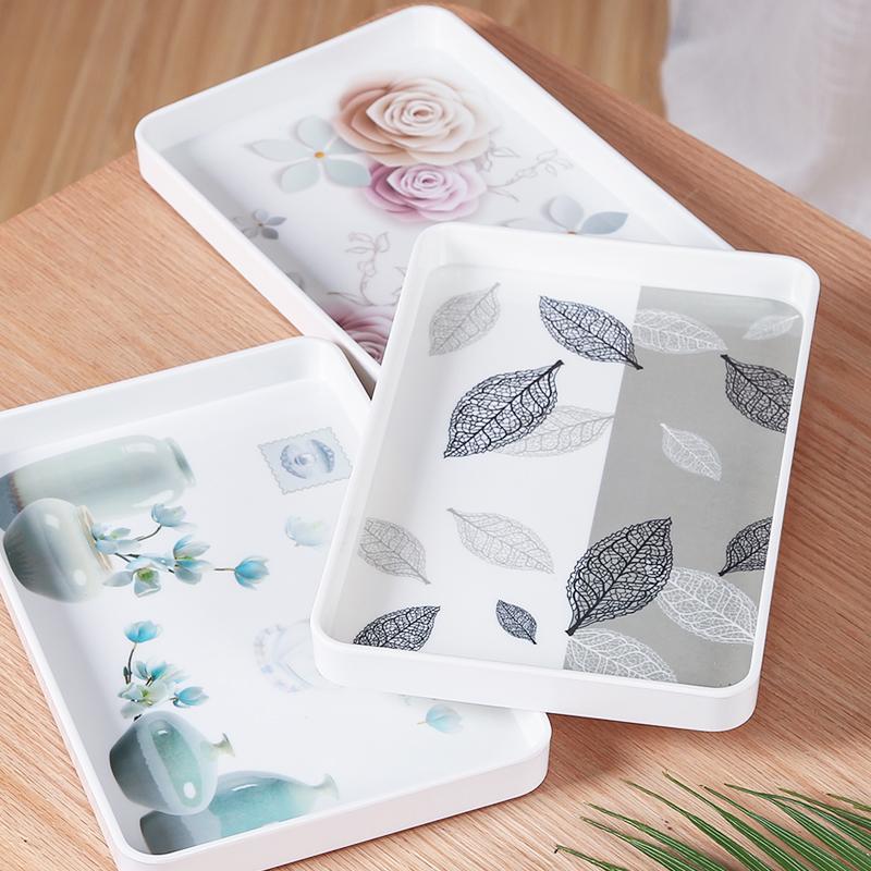 Tea tray tea tray rectangular household water cup tea cup tray fruit tray plastic