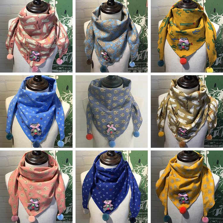 Korean version of childrens scarf fashion boy girl Princess Baby spring and autumn baby baby baby thin lovely triangle scarf