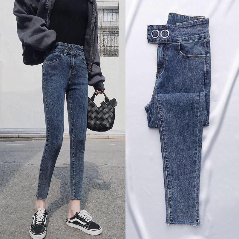 高腰女小脚裤显瘦排扣牛仔裤