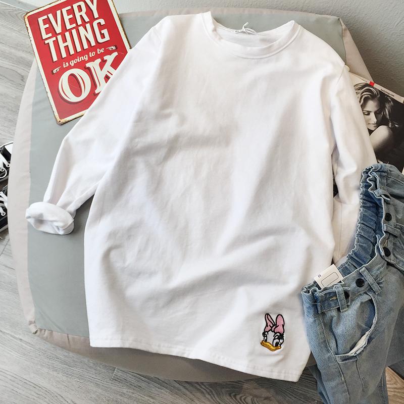2019秋季加绒磨毛白色t恤打底衫满99.00元可用24元优惠券