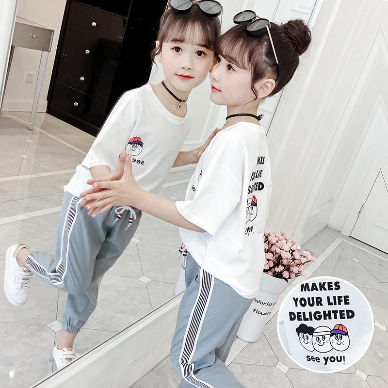券后68.00元女童夏季套装2019年新款韩版洋气儿童短袖两件套小女孩时髦防蚊裤