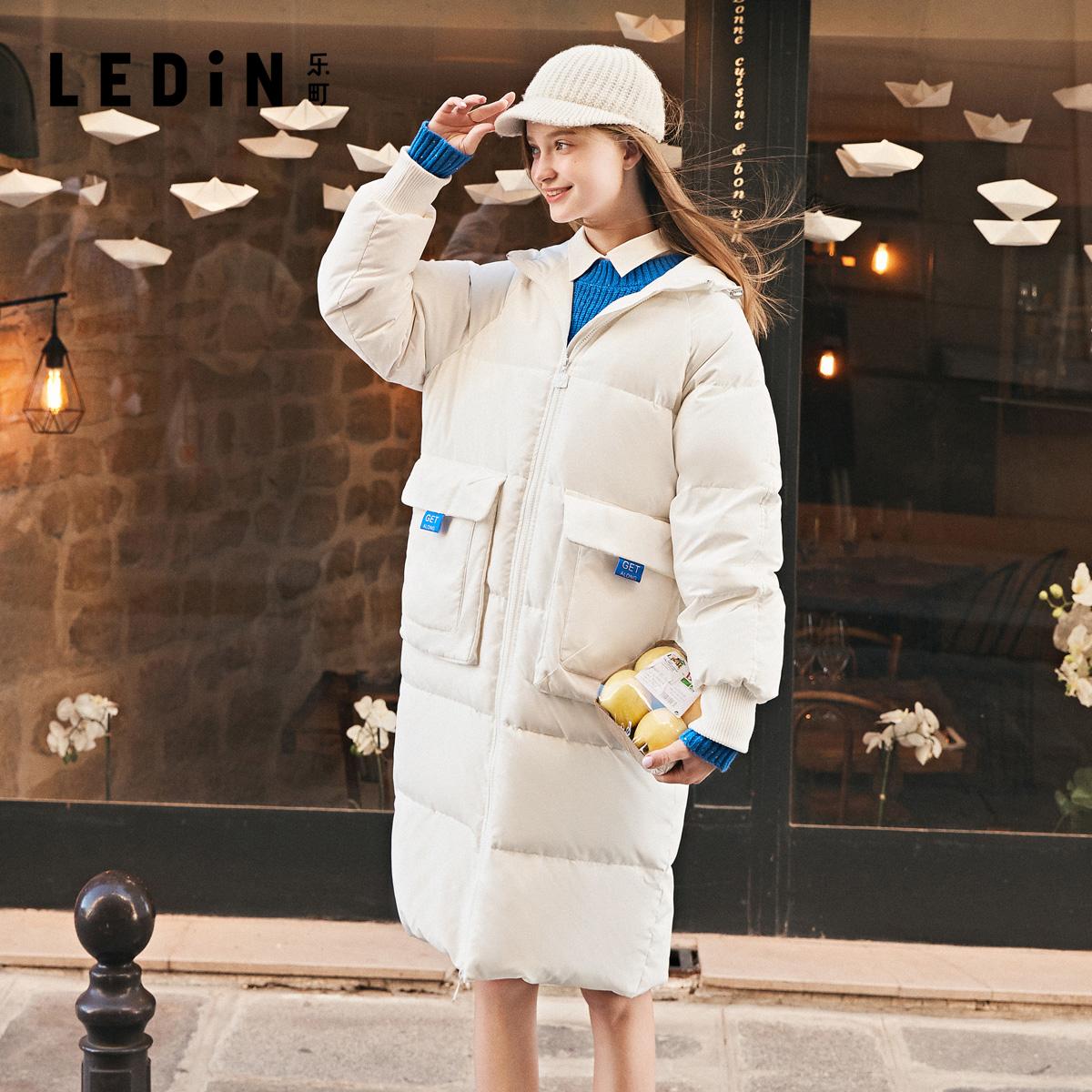 乐町爆款外套2020冬季新款女装韩版时尚宽松中长款过膝加厚羽绒服