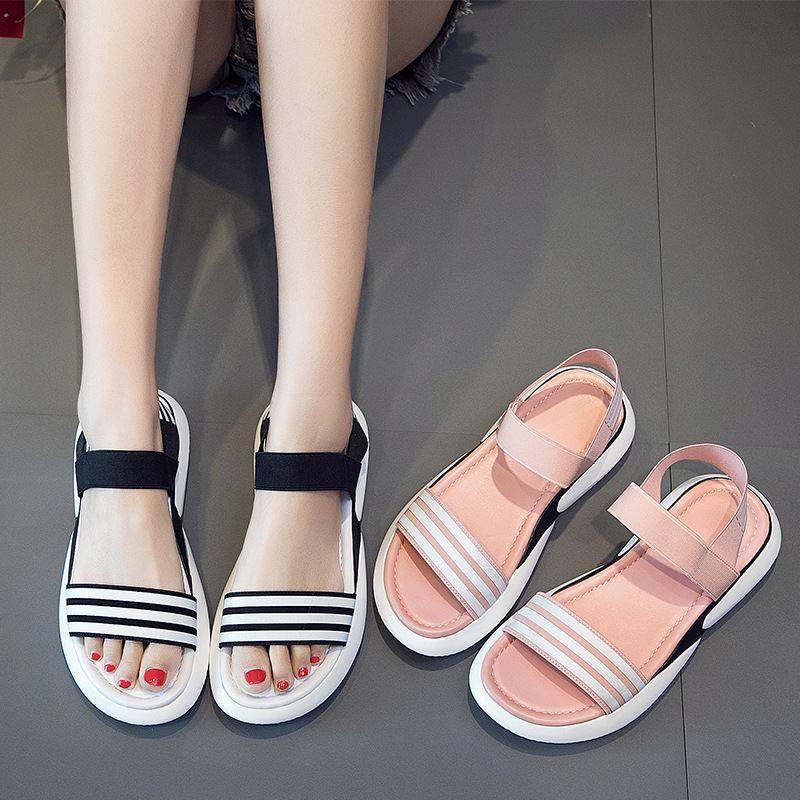 小仙女运动休闲松糕凉鞋女2020新款露趾夏季平底鞋学生韩版女鞋潮