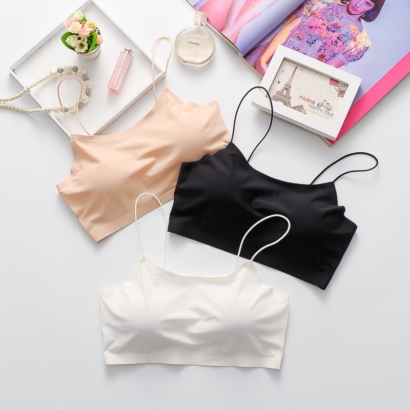 With chest pad, breast covering, breast wiping net, red popular anti gloss suspender vest, girls short back underwear