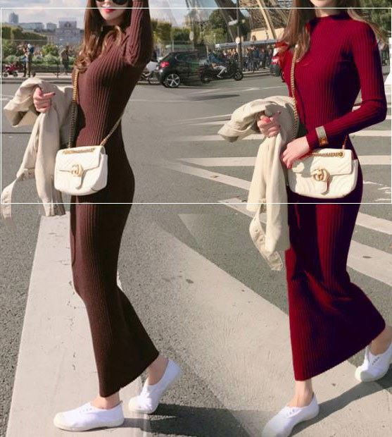 Autumn and winter 2018 new super long sweater dress over knee slim and ankle long skirt female student