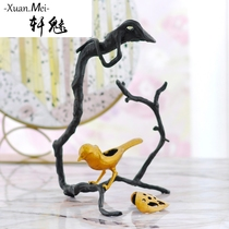 Xuan Charm simple modern model room nordic decorations metal bird aromatherapy Platform European home jewelry living room Decoration