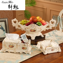 Xuan Charming European luxury creative ceramic Fruit plate high-grade fruit basket living room coffee table Home jewelry decorative decoration knot